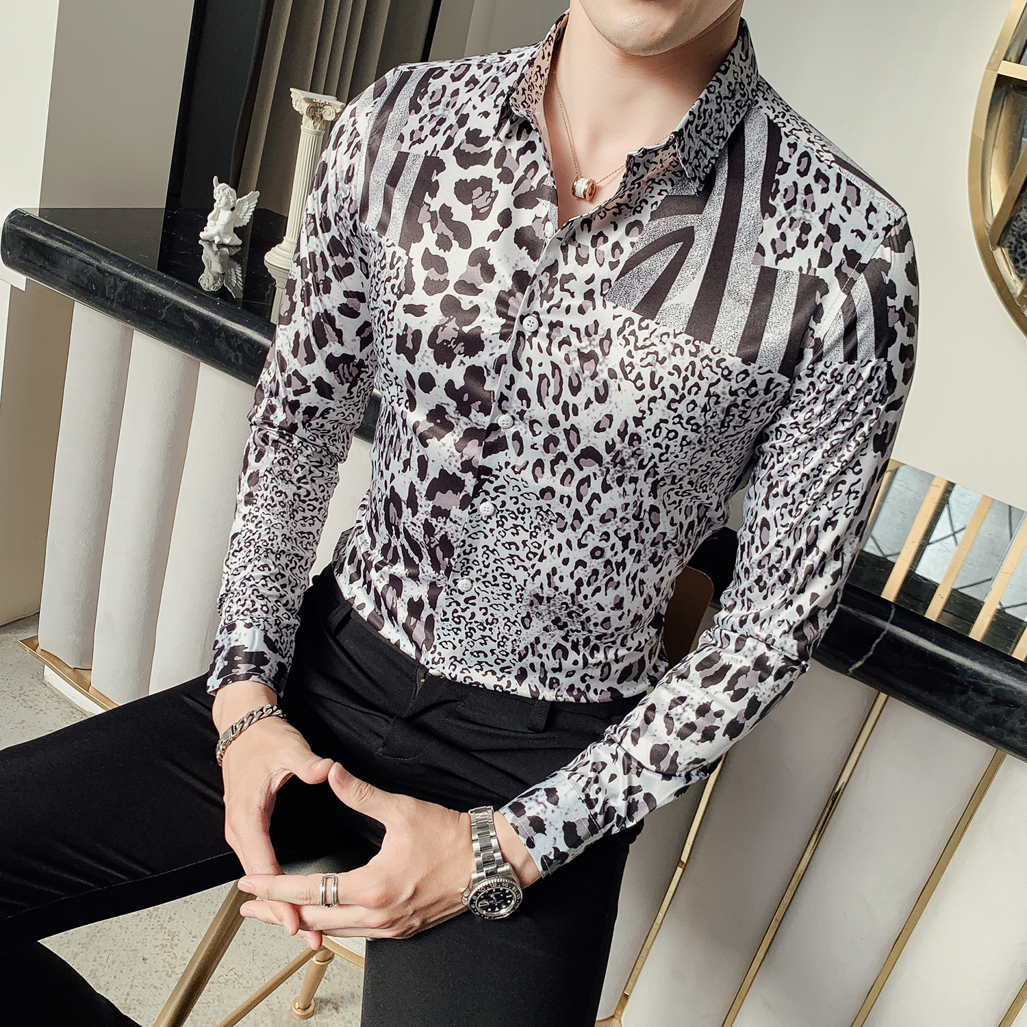 2019 Autumn Party Club Shirt Men DJ Singer Camisa Homem Prom Camisa Masculina Luxury Leopard Print Shirt Men Long Sleeve