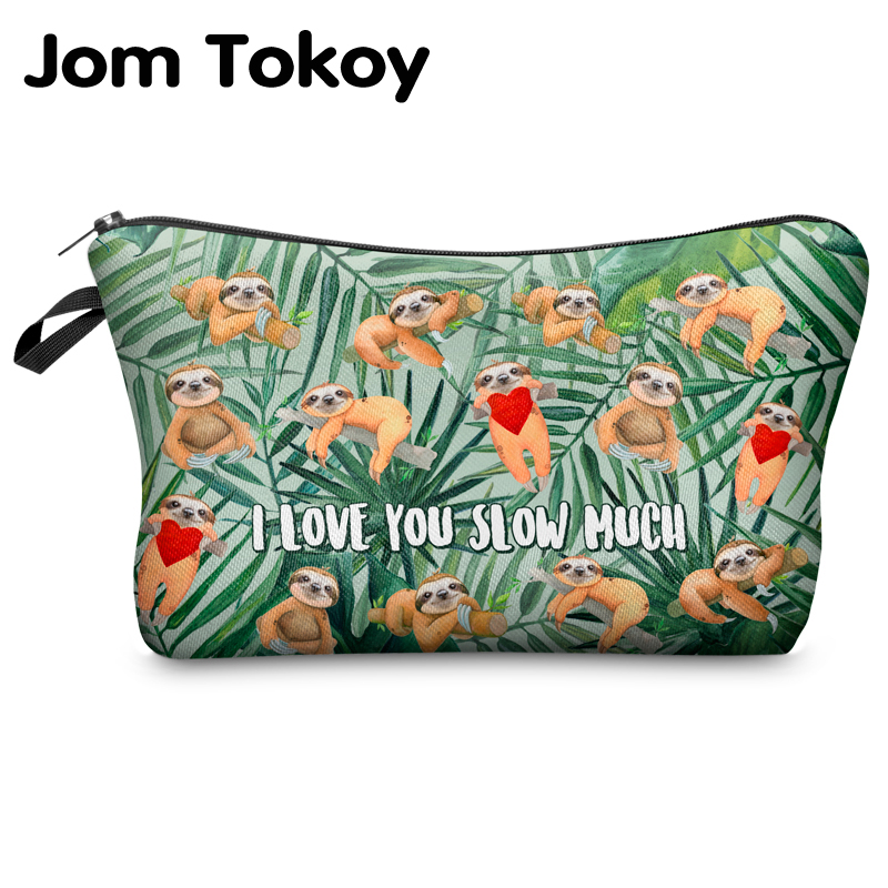 Jomtokoy Women Cosmetic Bag Sloth Pattern Digital Printing Toiletry Bag For Travel Organizer Makeup Bag Hzb1012