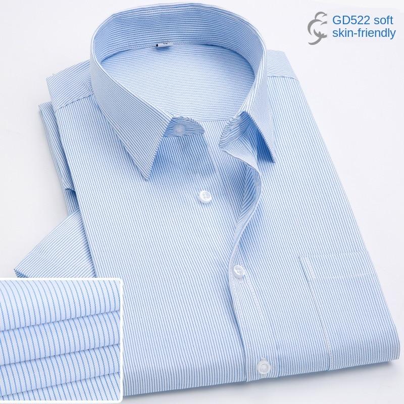 Fashion Men's Dress Shirts Cotton Clothing Button Up Shirt Short Sleeve Man Formal Business Work Office Twill Striped Designer