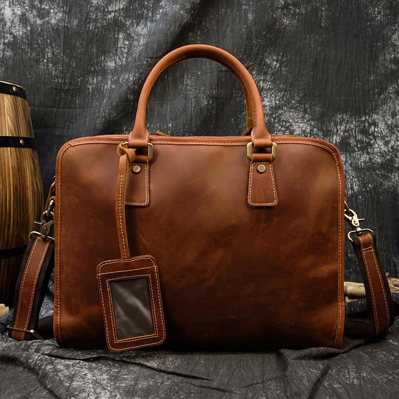 MAHEU Genuine Leather Laptop Briefcase 15.6 Inch Men Briefcase Work Tote Office Man Portfolio Business Bag Leather Attache Case