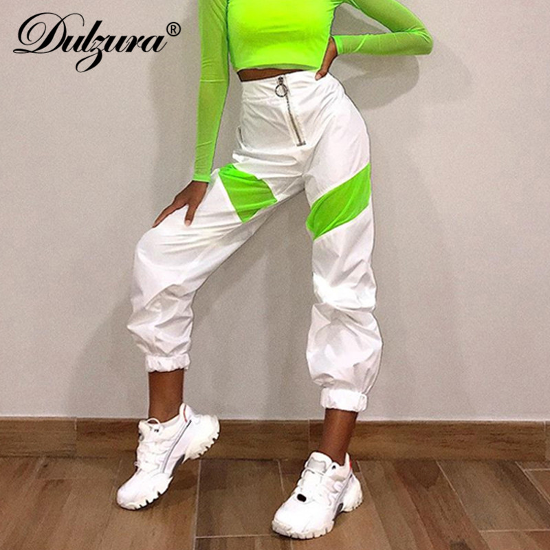 Dulzura 2019 Autumn Winter Women Pants High Waist Jogger Streetwear Loose Sweatpants Trousers Patchwork Clothes Bottoms Dance