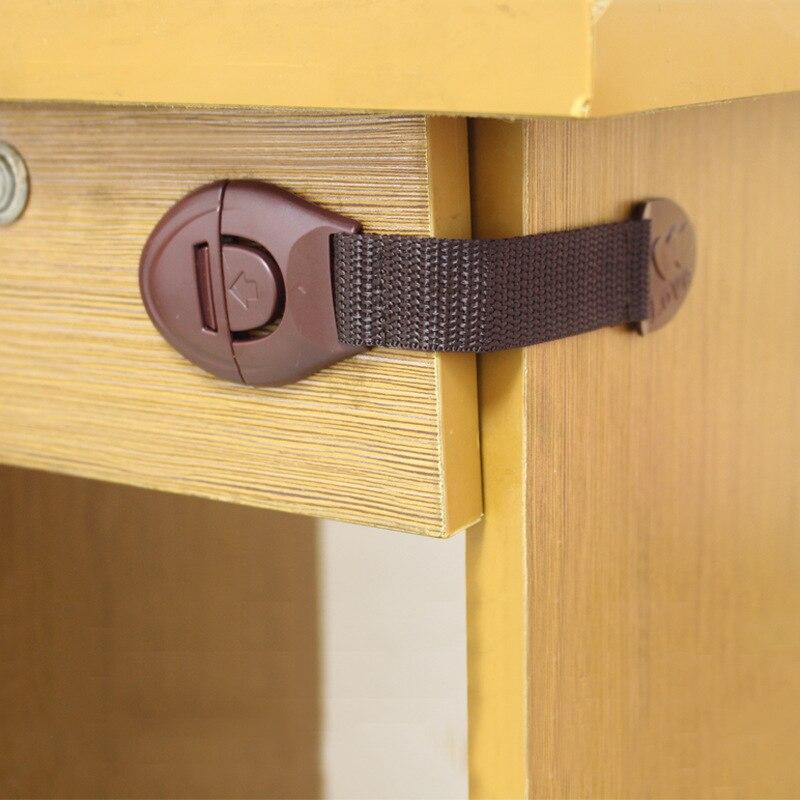 4 PC Lot Baby Toilet Safety Lock Children Safety Goods Cloth Belt Drawer Lock Baby Extended Cabinet Door Weave Belt Lock