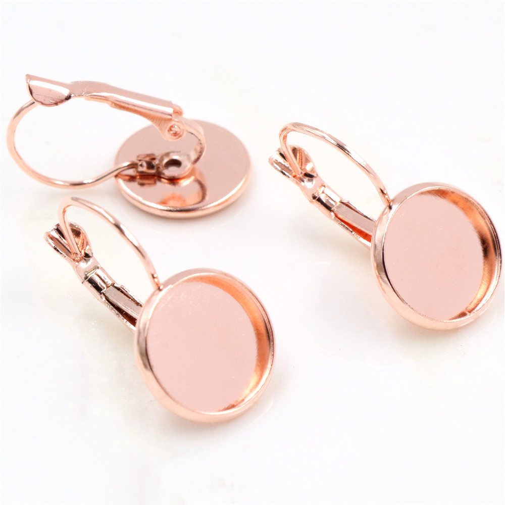 12mm 10pcs Dark Rose Gold Color French Lever Back Earrings Blank/Base,Fit 12mm Glass Cabochons,Buttons;Earring Bezels (L3-07)