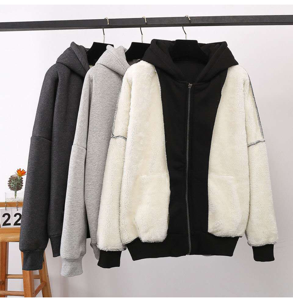 Thick Oversized Winter Hoodie Sweatshirts For Women Warm Vintage Clothes
