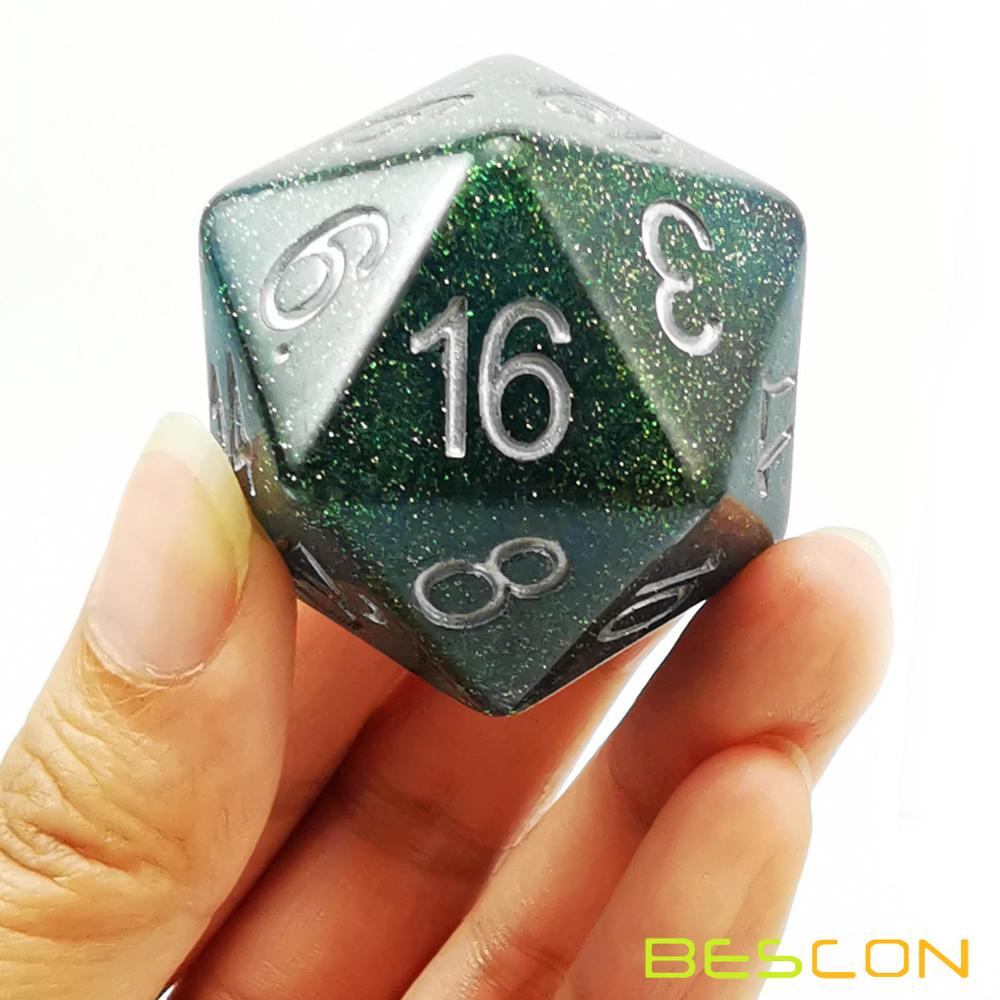 Bescon Jumbo Glowing D20 38MM, Big Size 20 Sides Dice 1.5 inch, Big 20 Faces Cube in Various Solid, Glitter, Glowing Colors 15