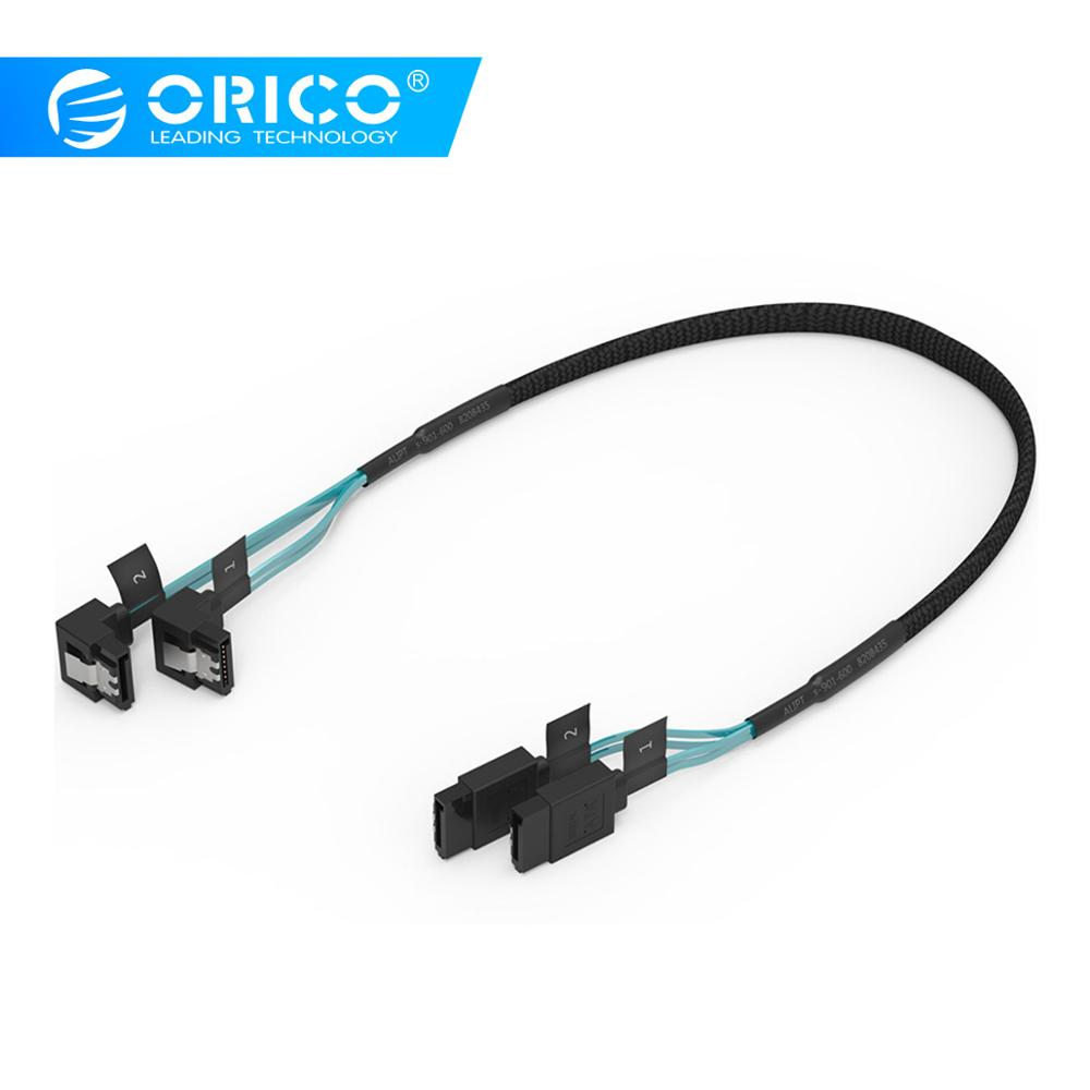 ORICO CPD SATA 3.0 Cable SAS Cable To  2 Pack SATA III Cable With Locking Latch, 6 Gbps, 1.6Ft / 0.5M & 1.8Ft / 0.55M