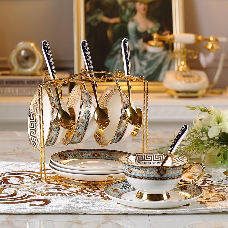 Ensemble de café européen britannique os chine fleur tasse à thé et soucoupe porcelaine thé fête café organisateur décoration de la maison