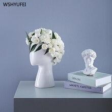 Doğrudan satış yeni ins insan kafası model seramik vazo yaratıcı portre yuvarlak delik çiçek düzenleme dekoratif süsler vazo