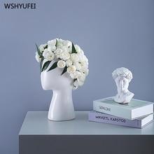 ขายตรงใหม่ INS มนุษย์หัวเซรามิคแจกัน Creative Portrait รอบหลุมดอกไม้เครื่องประดับตกแต่งแจกัน