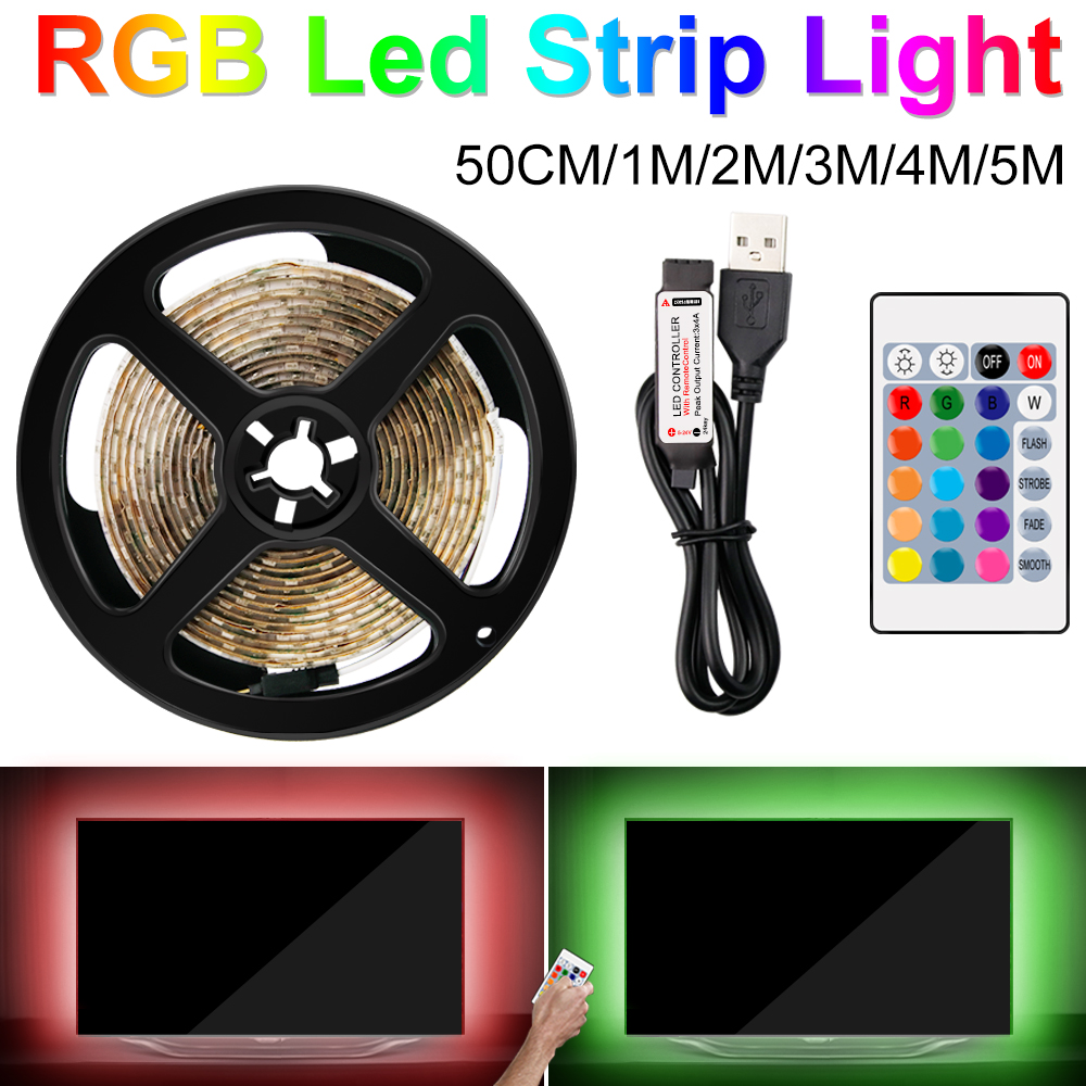 RGB USB LED Strip Lamp Christmas Flexible LED Light Tape Ribbon 2835SMD 5V TV Desktop Screen Backlight Bias Lighting Home 0.5~5M