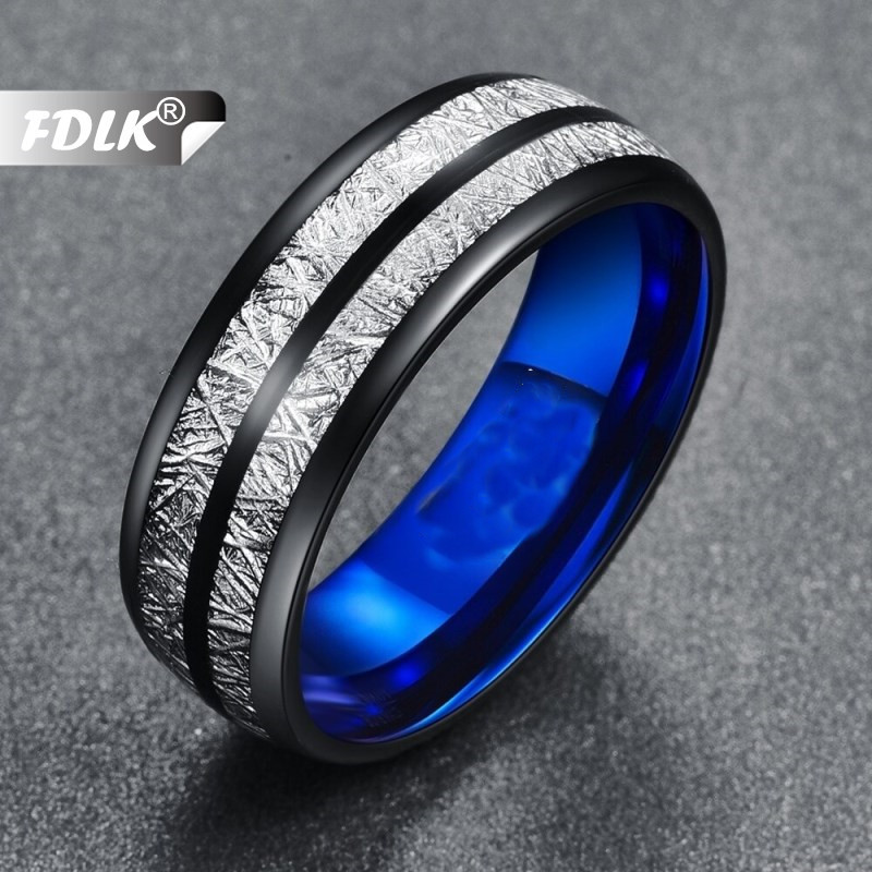 FDLK  Wedding Band 8mm Width Men Women Rings Accessories Black Blue Stainless Steel Rings Couple Anillos Fashion Jewelry