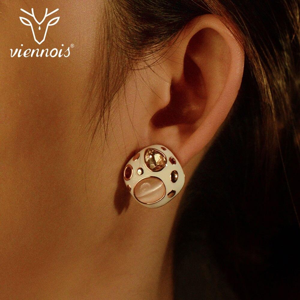 Viennois Enamel Stud Earrings For Women Square In Exclusive Design  Female Metallic Earrings Party Jewelry