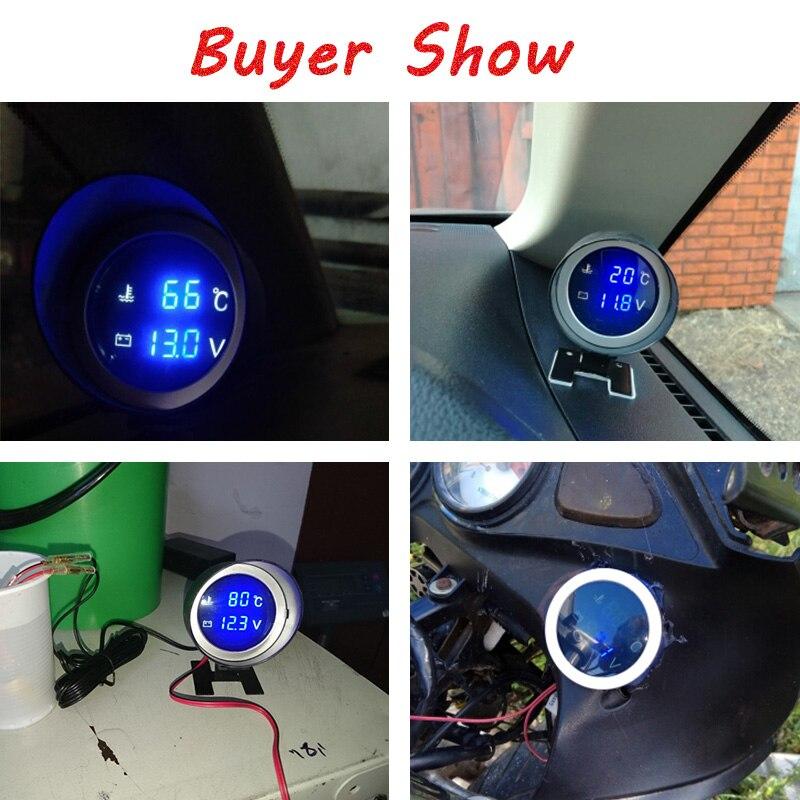 2 in 1  Round LCD Digital Car Truck Water Temp Gauge Voltmeter with Sensor 12V