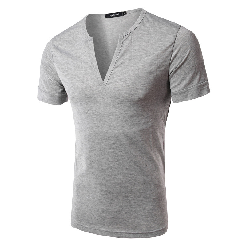 Summer Spring Mens Shirts Casual Cotton Short Sleeve Solid Color V-neck Shhirts For Men