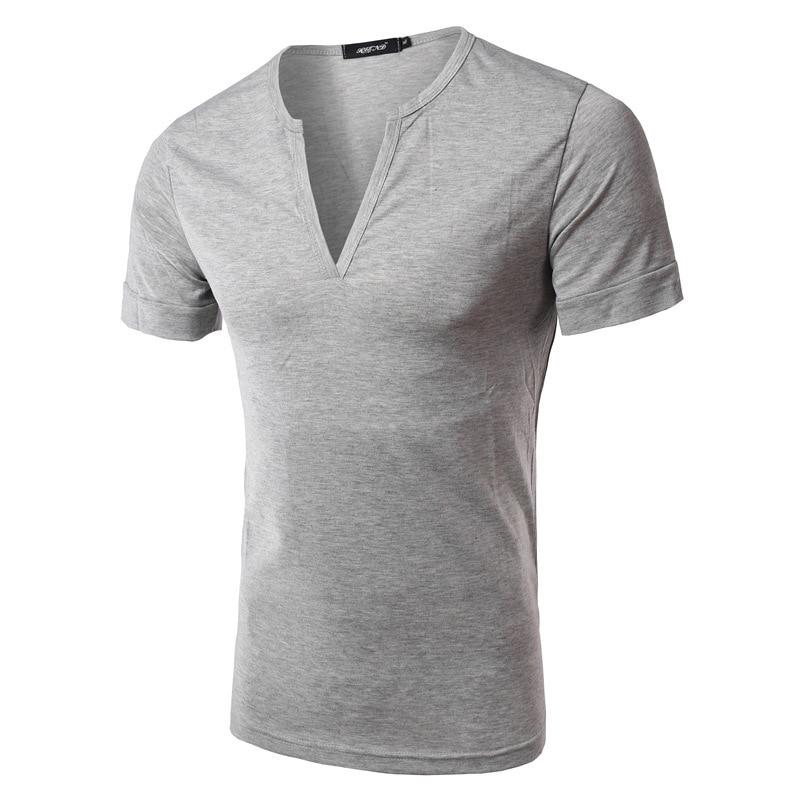 Summer Spring Mens Shirts Casual Cotton Short Sleeve Solid Color V-neck Shhirts For Men