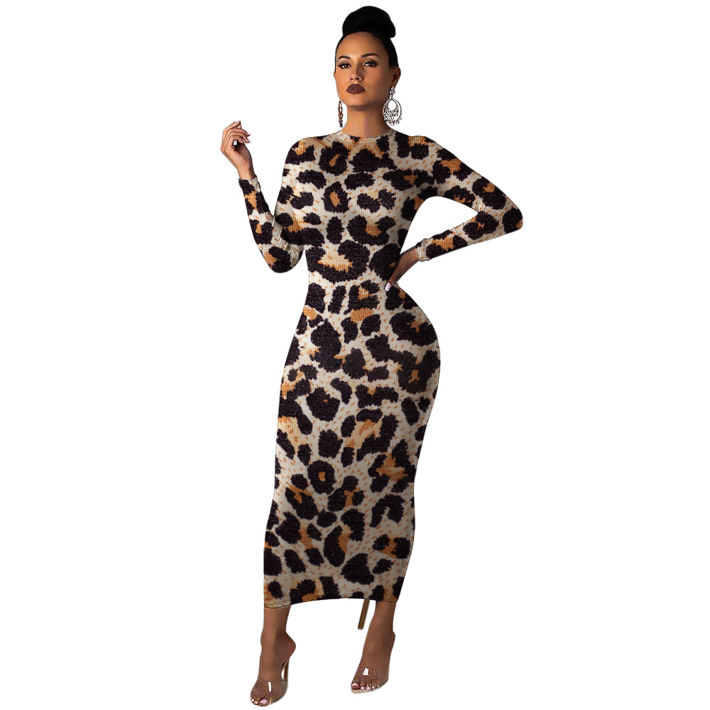 The new <font><b>sexy</b></font>, stylish, skin-tight leopard-print <font><b>dress</b></font> for 2019 comes with a long-sleeved, round-necked leopard-print <font><b>dress</b></font> image