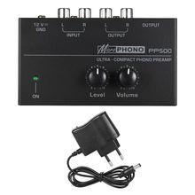 """PP500 فونو Preamp Preamplifier مع مستوى التحكم في مستوى الصوت RCA المدخلات الإخراج 1/4 """"TRS واجهات ل LP فينيل الدوار"""