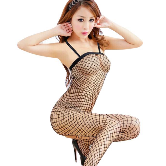 Fishnet Bodystocking Babydoll Lingerie Women Sexy Lingerie нижнее белье для секса Bodysuit Chemise Sleeveless Nightwear