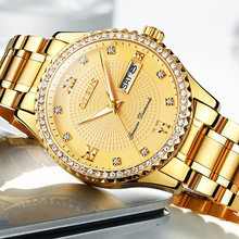 Mens luxury gold wristwatches male brand watches quartz man clock waterproof stainless steel fashion Business calendar OLEVS