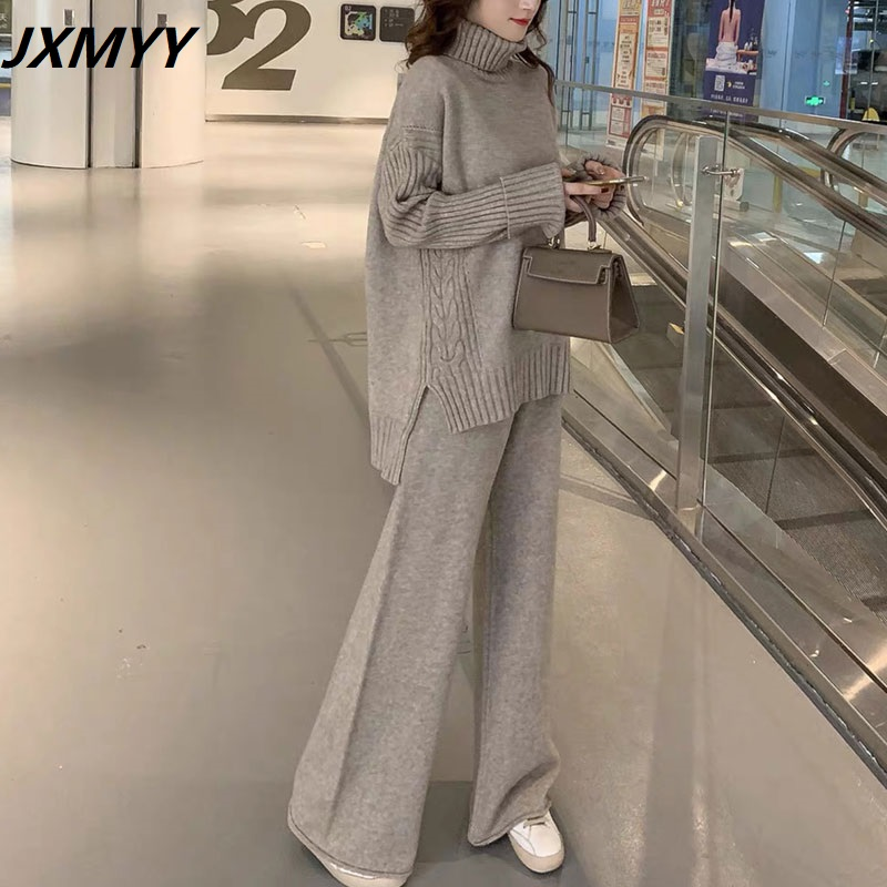 JXMYY sweater set women tracksuit spring autumn knitted suits 2 piece set warm turtleneck sweater pullovers wide legs pants