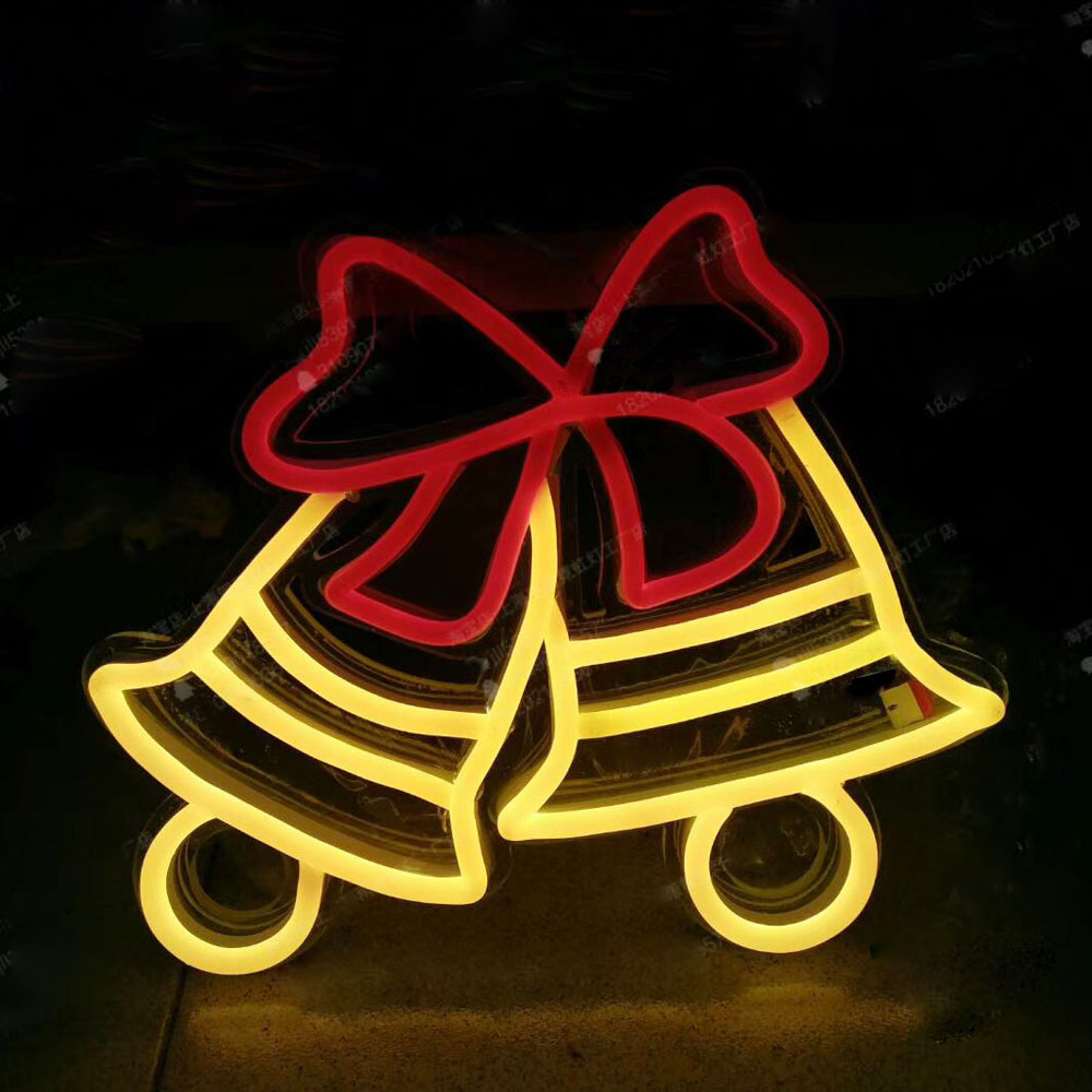 Custom Luminous Flexible Neon Sign Santa Claus Christmas Bells Signs Bear Heart Logos Neon Signs For Outdoor Mall Display