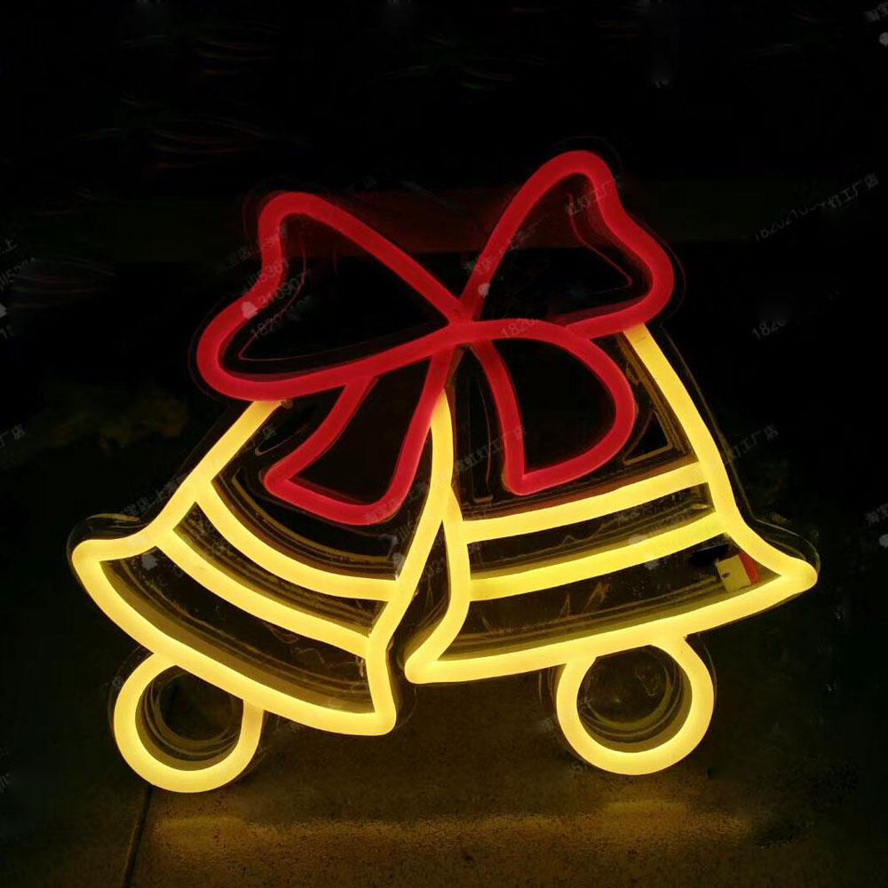 Custom Luminous Flexible Neon Sign Santa Claus Christmas Bells Signs Bear Heart Logos Neon Signs For Outdoor Mall Display