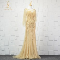 Dubai Mermaid Evening Dresses Wrape Style Gold Sequins Beaded Prom Party Gowns Sheer Neck Backless CelebritRobe De Soiree zd1023