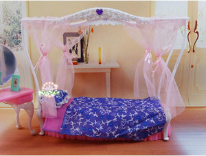 Image 5 - genuine for princess barbie beds Kurhn dolls accessories 1/6 bjd doll bed table bedroom furniture dream house set child toy gift