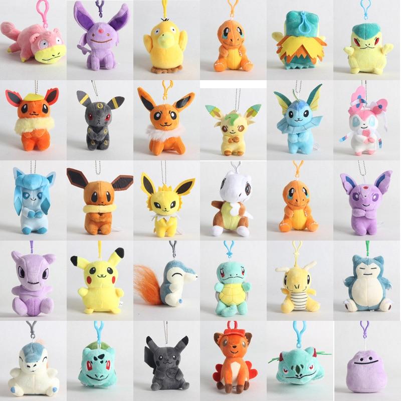 10cm Pokemon Plush Toy Charmander Bulbasaur Squirtle Eevee Jigglypuff For Children Kids Birthday Gifts Japan Anime Dolls Pendant