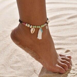 Obrączki dla kobiet dziewczynki biżuteria na stopy wakacyjna plaża boso sandały bransoletka na nogawce pasek na kostkę artystyczna skorupa Tassel Anklet