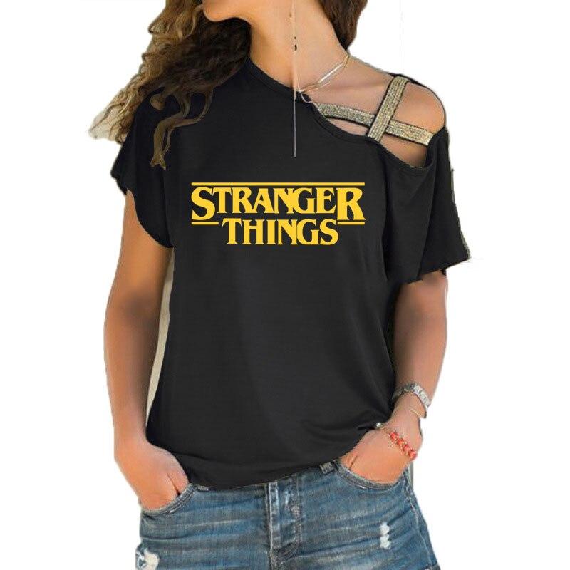 Tees Women Fashion 2019,Stranger Things T Shirt Cotton Short Sleeve Women Irregular Skew Cross Bandage Shirt Tops Tees