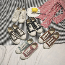 2019 New Canvas Shoes Woman Fashion Patchwork Women Casual
