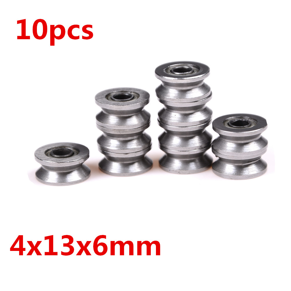 10PCS V Groove Ball Bearing Pulley For Rail Track Linear Motion System 4x13x6mm