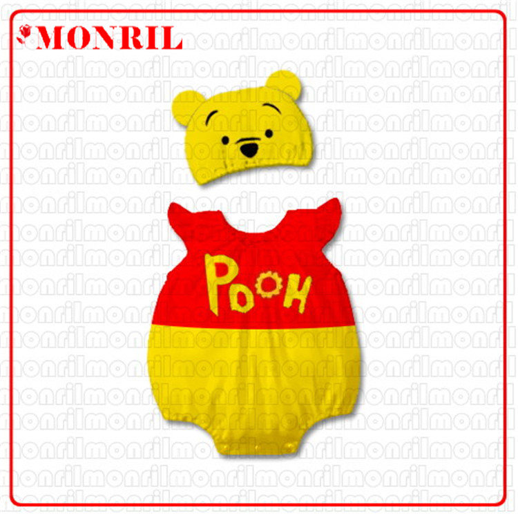 Summer Short-sleeved Baby Rompers Cotton Photo Of A Hundred Days One Piece Pooh Bear Modeling Infant Climb Clothing