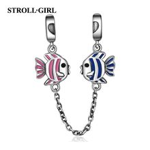 Strollgirl 925 Sterling Silver Fish for Safety Chain with Pink & Blue Enamel Stopper Beads Fit Charm Bracelet for Women Jewelry bamoer 100% 925 sterling silver purple enamel daisy flower safety chain stopper charm fit charm bracelet diy jewelry scc602