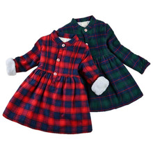 Thicken Velvet Girls Dresses Winter New Clothes Cotton Long Sleeve Children Clothing Plaid Kids 40