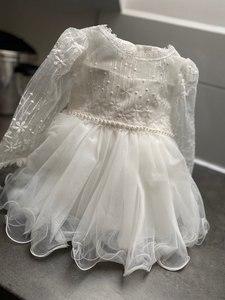 Image 4 - HAPPYPLUS vestido de bautizo con cuentas para niñas esponjosa, primer vestido de cumpleaños para Princesa para niñas, vestidos de graduación para bebés