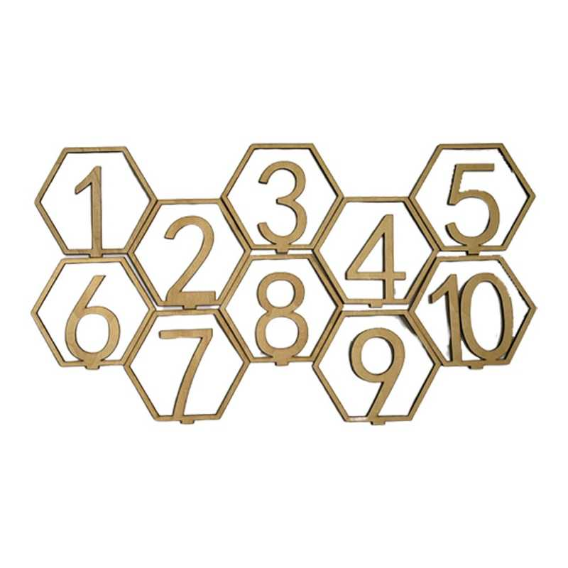 10Pcs/Set 1-20 Numbers Wood Signs Wedding Hexagon Table Number Wooden Table Numbers Rustic Wedding Engagement Seat Numbers Sign