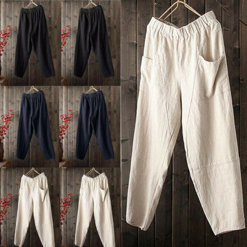 2020 Mens Linen Cotton Loose Pants Beach Drawstring Solid Casual Long Slacks Trousers