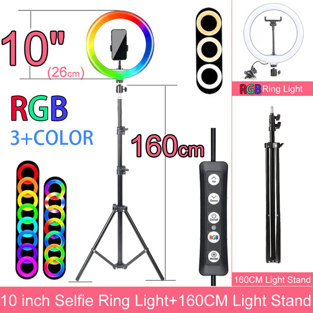 Gift 6 10 12 Inch Dimmable LED Selfie Ring Light with Stand without tripod 160cm Lamp Photography Ringlight Phone Studio Desktop 5