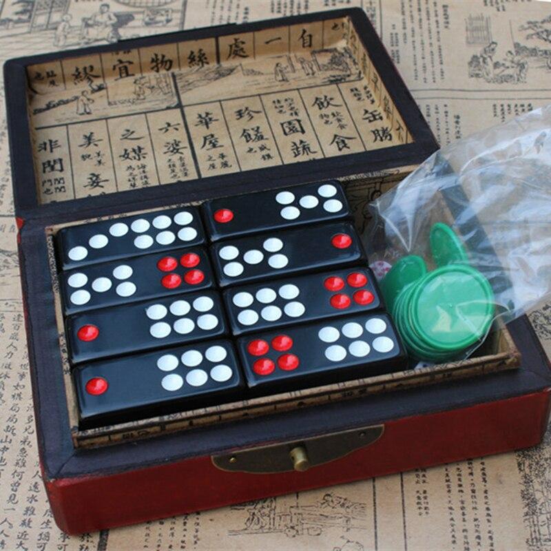 Carte noire chinoise Pai fairy neuf mélamine noire jour neuf avec boîte en cuir Antique Dragon échecs bois de santal dominos divertissement