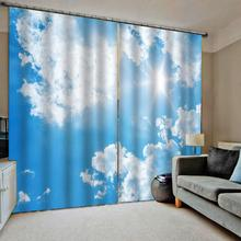 Blue sky white cloud 3D Curtains Living Room Bedroom Drapes Cortinas Customized size Blackout curtain