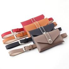 Fashion PU Leather Belt Bags Women Pure Color Square Rivets Messenger Bag Chest Bag Waist Bag Fanny Pack for Women Bum Bag цена и фото