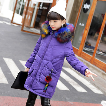 fur hooded edge warm thermal white duck down big girls jacket kids winter coat children's clothing thick