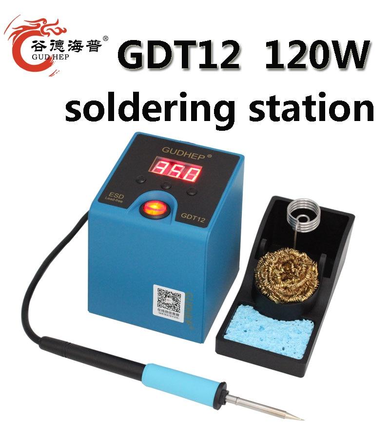 Gudhep New T12 Soldering Iron Station 120W Thermostatic Soldering Rework Station T12 Soldering Iron Tips