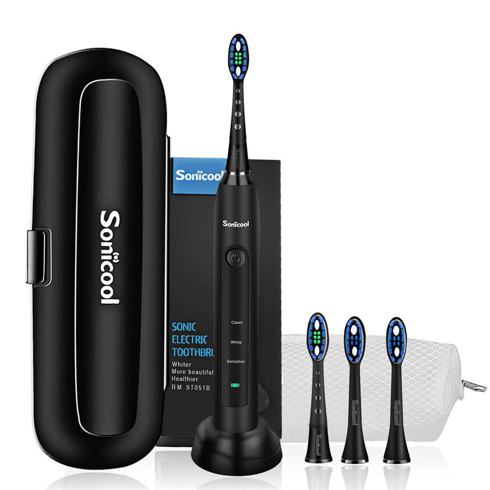 Sonicool 2019 New 051B Ultrasonic Sonic Electric Toothbrush USB Rechargeable Tooth Brushes With 4 Pcs DuPont Replacement Heads
