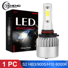 1PC Car HB3 9005 H10LED Headlights Bulb 6000K Cool White 36W 4000LM S2 COB Chip LED Light Bulb Automobiles Parts Lamp LED Canbus(China)