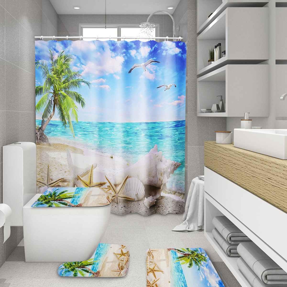 Seashore Shower Curtain Antislip Bathroom Pedestal Rug Lid Toilet Cover Bath Mat