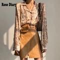 RoseDiary летняя шикарная Повседневная Блузка золотистого и серебристого цвета для женщин, Egirl, на пуговицах, новый дизайн, Blusas Chemises femme moda verano ZA, ...