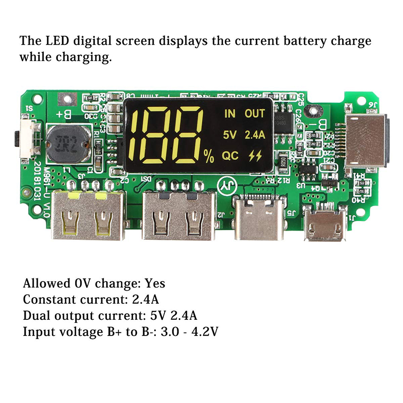 Hot LED Screen USB Micro Type-C Power Display Mobile Power Bank 18650 Overload Charger Over-Discharge Short Circuit Protection